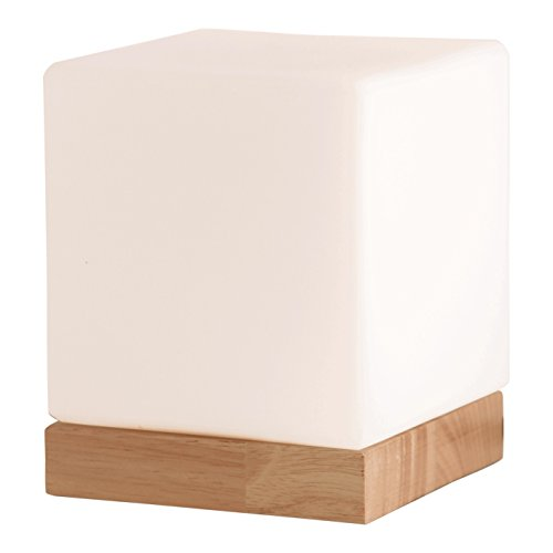 Light Accents Felix Table Lamp Glass Cube Accent Lamp - Glass Shade with Natural Wooden Base