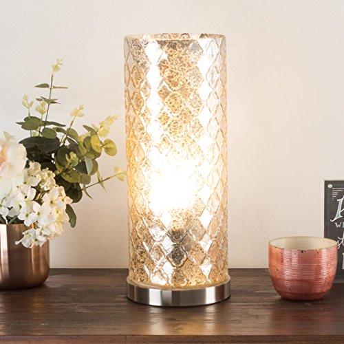 Lavish Home 2 Table Lamp Finish, Embossed Trellis Pattern and Included LED Light Bulb Uplighting, Silver Mercury