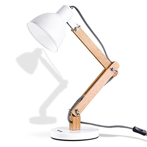 MUTUW Wooden Swing Arm Desk Lamp, Nordic Design LED Table Lamp, Metal Lampshade Base Perfect for Reading Study Office Bedside Lamps,White