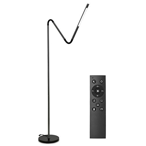 LE LED Floor Lamps, Dimmable Gooseneck Standing Lamp Eye Care Reading Light, 6W, 6 Lighting Modes, Memory Function,Touch Control & Remote Control Floor Light for Living Room Office Hotel, Black