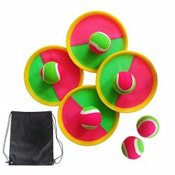 Paddle Tennis Toy Ball Toss and Catch Sports Ball Throw Catch Bat Ball Game Set,Equally Suitable Game for Kids & Adults, Outdoor or Indoor with 4 Paddles, 6 Balls & Storage Bag
