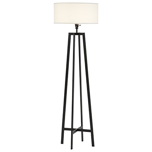 "Stone & Beam Deco Black Metal Floor Lamp, 59.5"" H, with Bulb, White Shade"