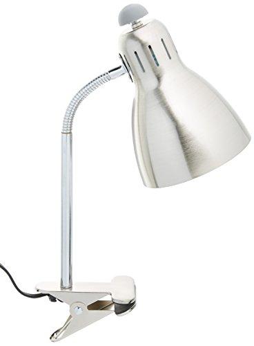 "Simple Designs Home Adjustable Clip Light Desk Lamp, 5"" x 7.5"" x 17.5"", Brushed Nickel"