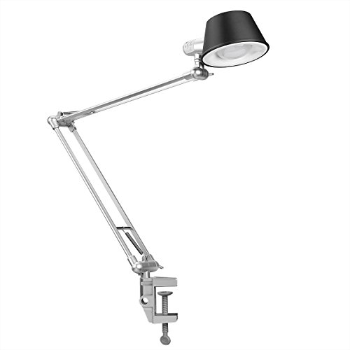 LE Swing Arm Dimmable LED Desk Lamp, C-Clamp Table Lamp Flexible Clamp-on Stand Light Touch Control Brightness Adjustable Memory Function Bedroom Bedside Study Room Reading