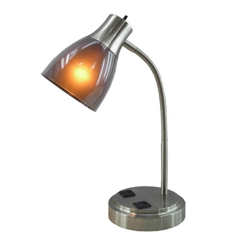 Normande Lighting 13W CFL Desk Lamp with Two Electrical Outlets on the Base Mount