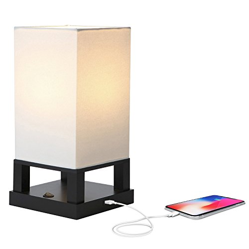 Brightech Maxwell LED USB Side Table & Desk Lamp – Modern Asian Style Lamp with Wood Frame & Soft, Ambient Lighting Perfect for Living Room Bedside Nightstand Light- Energy Efficient - Black