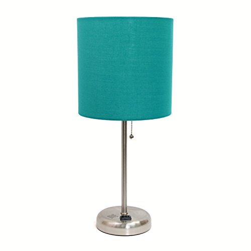 Limelights Brushed Steel Lamp with Charging Outlet and Fabric Shade, Teal by Limelights