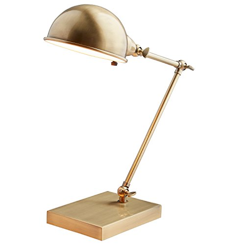"""Stone & Beam Vintage Task Lamp with Bulb, 14"""" H, Antiqued Brass"""