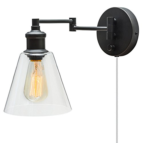 Globe Electric LeClair 1-Light Plug-In or Hardwire Industrial Wall Sconce, Dark Bronze Finish, On/Off Rotary Switch on Canopy, 6 Foot Clear Cord