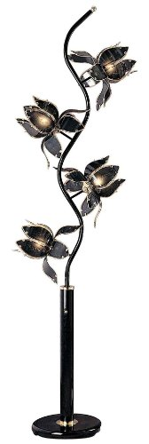 "Ore International Flower Floor Lamp, 76"" x 13"" x 13"", Black"