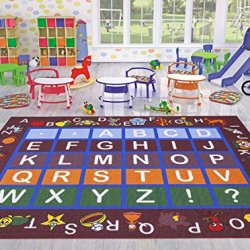 "Ottomanson Jenny Collection Dark Red Frame with Multi Colors Kids Children's Educational Alphabet (Non-Slip) Area Rug, 5'0"" X 6'6"", Red"