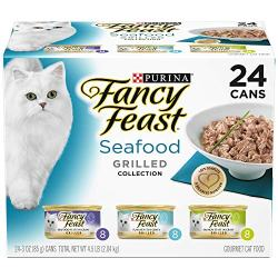 Purina Fancy Feast (Grilled Seafood Collection Wet Cat Food Variety Pack (24) 3 oz. Cans