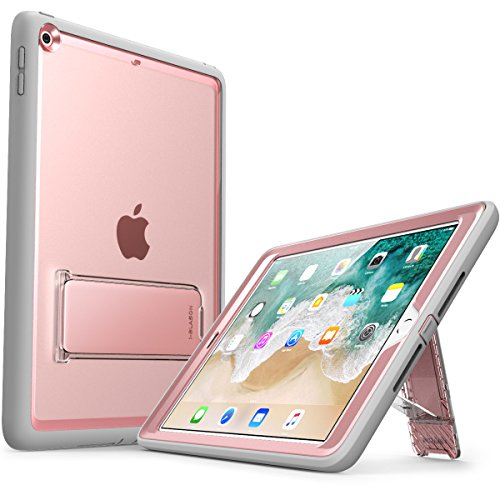 New iPad 9.7 Case 2018/2017, i-Blason [Ares Series] [Kickstand] Full-Body Rugged Protective Clear Case with Built-in Screen Protector & Dual Layer Design for Apple iPad 9.7 2017/2018 (Rosegold)