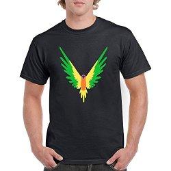 Maverick Logo T Shirt Logan Paul Youtube Men's Crew Neck T-Shirts Parrot Logo Tees (Black1, M)