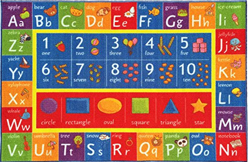 """KC CUBS Kev & Cooper Playtime Collection ABC, Numbers and Shapes Educational Area Rug - 5'0"""" x 6'6"""""""