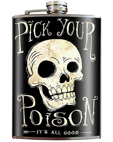 Pick Your Poison Skull - 8oz Stainless Steel Flask - come in a skull & cross bones GIFT BOX - by Trixie & Milo