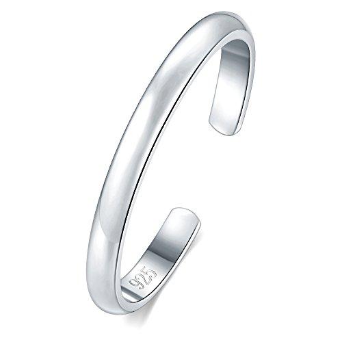 BORUO Sterling Silver Toe Ring, Daisy Flower Hawaiian Adjustable Band Ring 2mm
