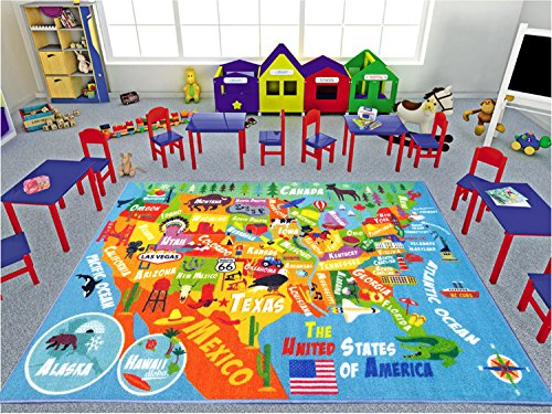 KC CUBS Playtime Collection USA United States Map Educational Learning &  Game Area Rug Carpet for Kids and Children Bedrooms and Playroom (5\'0\