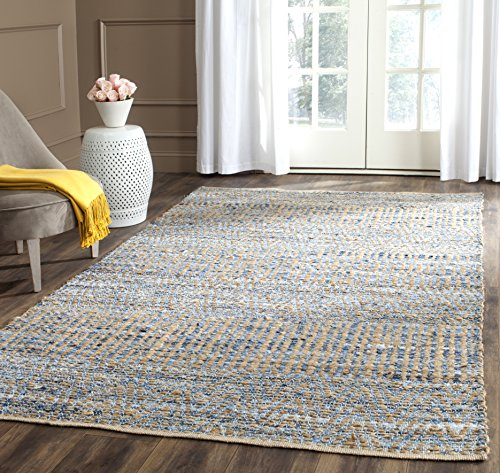 Safavieh Cape Cod Collection Hand Woven Flatweave Natural and Blue Jute Area Rug (3' x 5')