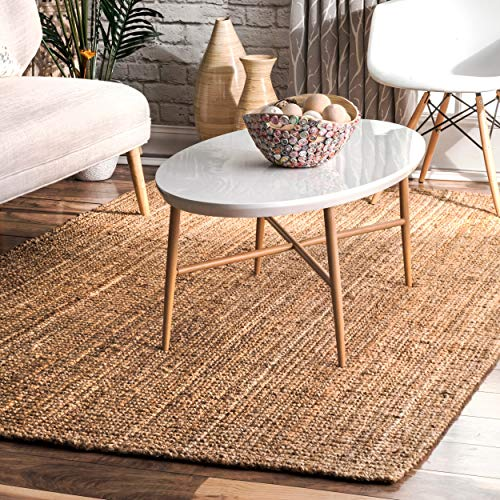 nuLOOM Handwoven Jute Ribbed Solid Area Rugs, 5' x 8', Natural