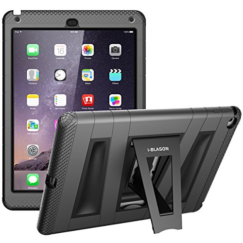 i-Blason Apple iPad Air Case ArmorBox 2 Layer Convertible [Hybrid] Full-Body Protection KickStand Case with Built-in Screen Protector for Kids Friendly (Black/Black)