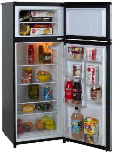 Avanti 2-Door Apartment Size Refrigerator, Black with Platinum Finish