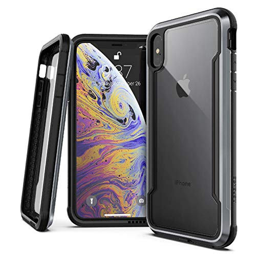 "X-Doria Defense Shield Series, iPhone XS Max Case - Military Grade Drop Tested, Anodized Aluminum, TPU, and Polycarbonate Protective Case for Apple iPhone XS Max, 6.5"" inch Screen, [Black]"