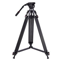 "DSLR Video Camera Tripod, Heavy Duty Tripod System with 360 Degree Fluid Drag Video Head, Professional 1/4"" and 3/8"" QR Plate and Bubble Level Video Camera Tripod"