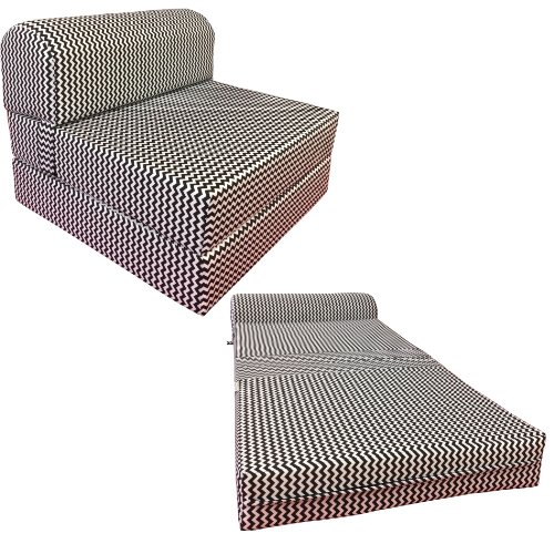 Black white ZigZag Twin Size Chair Fold Foam bed 1.8Lb Density Sofa Beds 6x32x70
