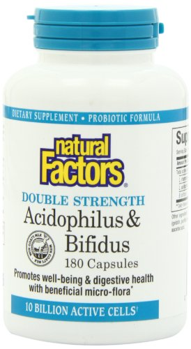 Natural Factors - Acidophilus & Bifidus Double Strength, 10 Billion Active Cells, 180 Capsules