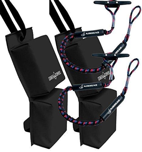 Bundle Includes 4 Items - 2 HULL HUGRHH-P1B PWC Fenders (Black) and 2 AIRHEAD AHDL-4 Bungee Dockline 4 Feet