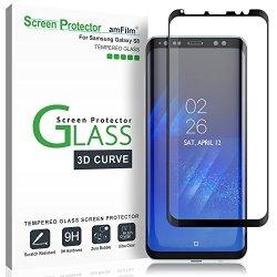 "Galaxy S8 Screen Protector Glass, amFilm 3D Curved Dot Matrix Full Screen Samsung Galaxy S8 Tempered Glass Screen Protector (5.8"") 2017 with Easy Application Tray (NOT S8 PLUS) (Case Friendly)"