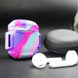 Shock Resistant Case Protective Silicone Cover Running Design with Hard Sleeve and Keychain for Charging Compatible Apple AirPods(Rainbow)