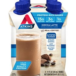 Atkins Ready to Drink Protein-Rich Shake, Mocha Latte, 4 Count