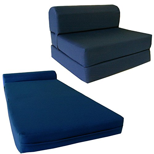 """D&D Futon Furniture 6"""" Thick X 36"""" Wide X 70"""" Long Twin Size Navy Sleeper Chair Folding Foam Bed 1.8lbs Density, Studio Guest Foldable Chair Beds, Foam Sofa, Couch."""