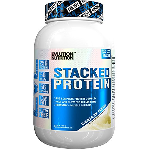 Evlution Nutrition Stacked Protein Protein Powder with 25 Grams of Protein, 5 Grams of BCAA's and 5 Grams of Glutamine (Vanilla Ice Cream, 2 LB)