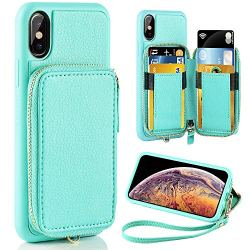 iPhone XS Case, iPhone XS Wallet Case, ZVE iPhone X/XS Case with Credit Card Holder Slot Zipper Pocket Purse Handbag Wrist Strap Protective Cover for Apple iPhone X/XS 5.8 inch -Mint Green