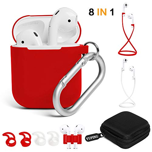 YUPING AirPods case Designed Separately Silicone Protective Cover,2 Anti-Lost Strap/2 Pairs of Ear Hooks/Airpods Watch Band Holder/Carabiner/Headphone Case Compatible for Apple AirPods(8 in 1)-Red