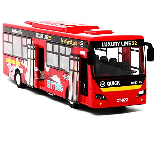 "Bocks Pull Back Bus, Alloy Die Cast Toy Vehicles, 9"" Model Car, City Bus with Flash Lights Music (Red)"