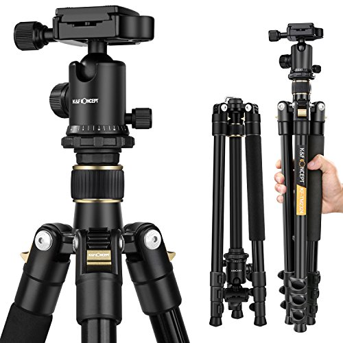 K&F Concept 62'' DSLR Tripod, Lightweight and Compact Aluminum Camera Tripod