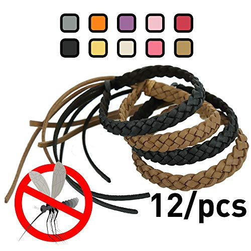 Kinven Original Mosquito Insect Repellent Bracelet Waterproof Natural DEET FREE Insect Repellent Bands, Anti Mosquito Protection Outdoor & Indoor, Adults & Kids, 12 bracelets, in Brown/Black
