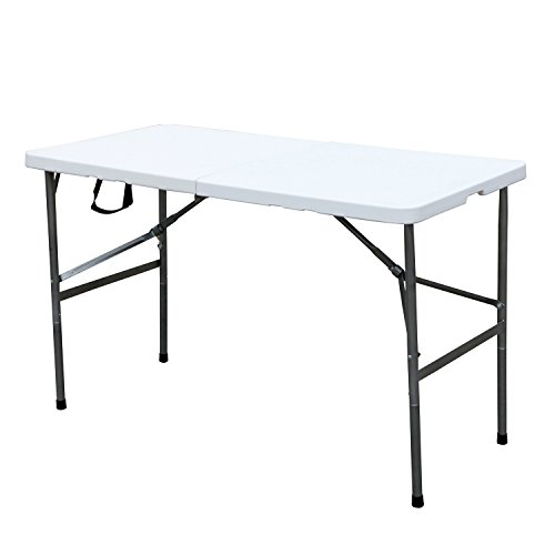 """DlandHome 48"""" Camping Folding Table, Portable Desk Indoor/Outdoor Picnic Party Dinner Table, Utility Table for Garden, Beach, Cookouts, Weatherproof"""