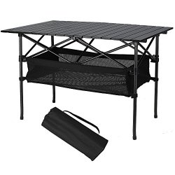 Folinstall Picnic Tables with Hammock Style Storage Basket & Carry Bag - Collapsible Tables Supports 154.32 lbs(70 kg)