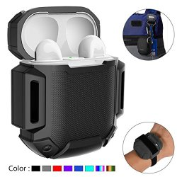 AirPods Charging Case Waterproof Protective Shock Resistant Silicone Cover Sports Design with Hard Sleeve and Keychain for Apple Airpods (Black)