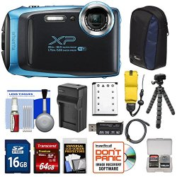 Fujifilm FinePix XP130 Shock & Waterproof Wi-Fi Digital Camera (Sky Blue) with 64GB Card + Battery +Charger + Cases + Tripod + Float Strap + Kit