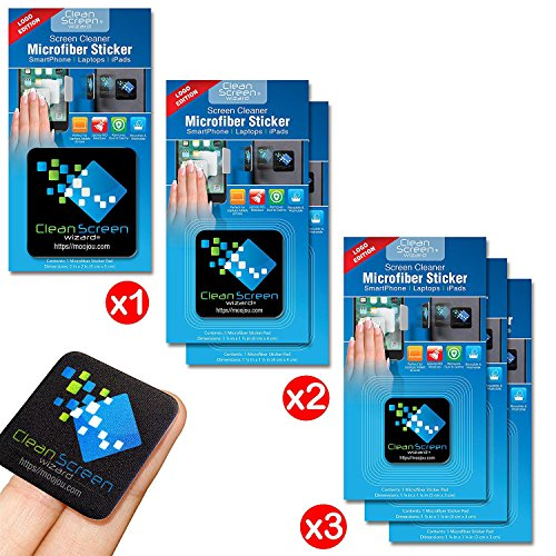 Clean Screen Wizard Microfiber Screen Cleaner Sticker, 6 PACK Bundle Cleaning Stickers (1 Large, 2 Medium, 3 Small) in Black- For Multi Size Screens