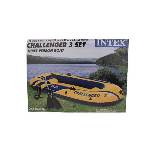 INTEX Challenger 3 Boat Set Inflatable w/ Motor Mount Kit
