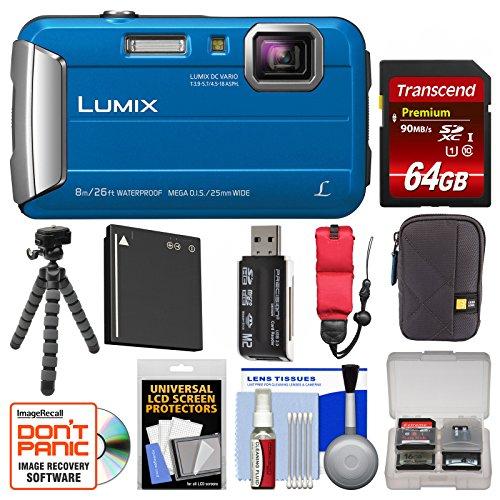 Panasonic Lumix Tough Shock & Waterproof Digital Camera (Blue) with 64GB Card + Case + Battery + Flex Tripod + Float Strap + Kit