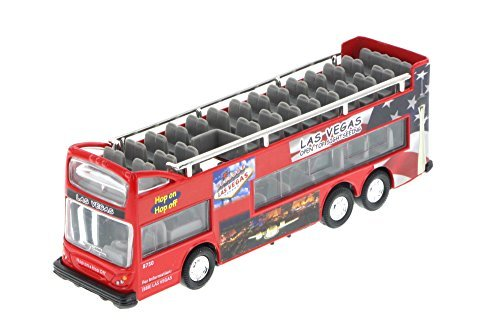 "Las Vegas 6""  Double Decker Sightseeing Bus Open Top, Red - Collectible Model Toy Car"