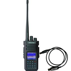 Ailunce HD1 DMR Digital Ham Radio Dual Band Dual Time Slot 10W 3000Channels 100000 Contacts 3200mAhz Waterproof long Range Two Way Radio with FM Function and Programming Cable(Black,1pack)